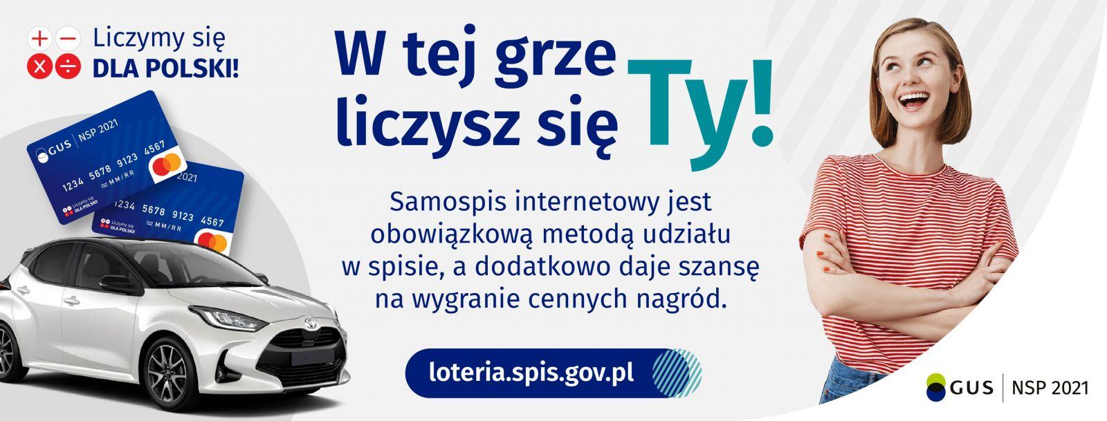 W tej grze liczysz sięTY. Samospis internetowy jest obowiązkową metodą udziału w spisie a dodatkowow daje szansę na wygranie cennych nagród. www.loteria.spis.gov.pl