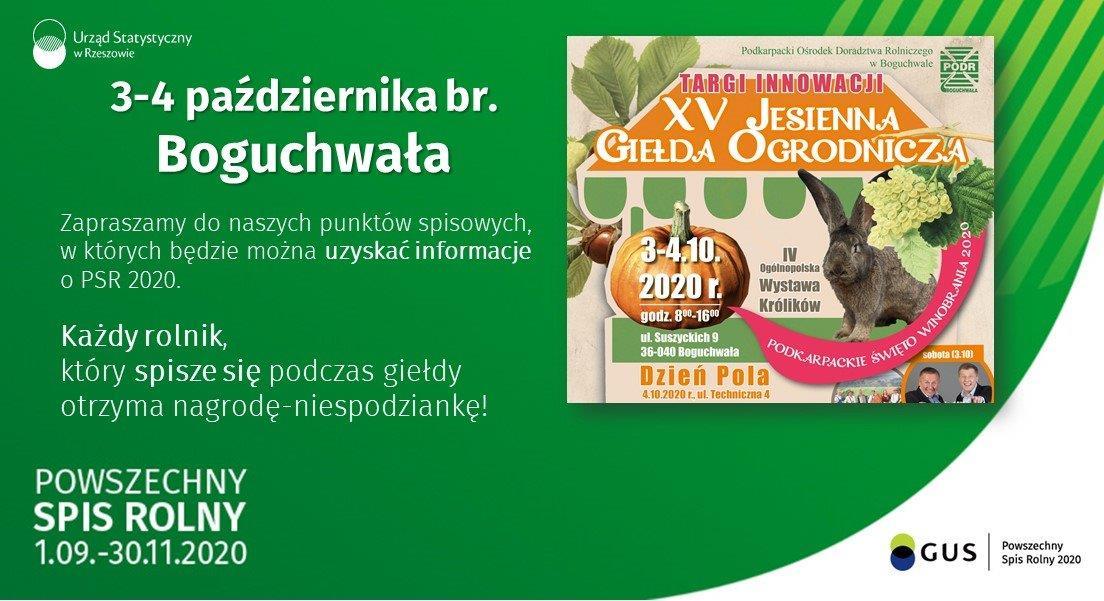 3-4 października bierzącego roku w Boguchwale zapraszamy do naszych punktów spisowych, w których będzie można uzyskać informacje o Powszechnym Spisie Rolnym 2020. Każdy rolnik, który spisze się podczas giełdy otrzyma nagrodę niespodziankę!