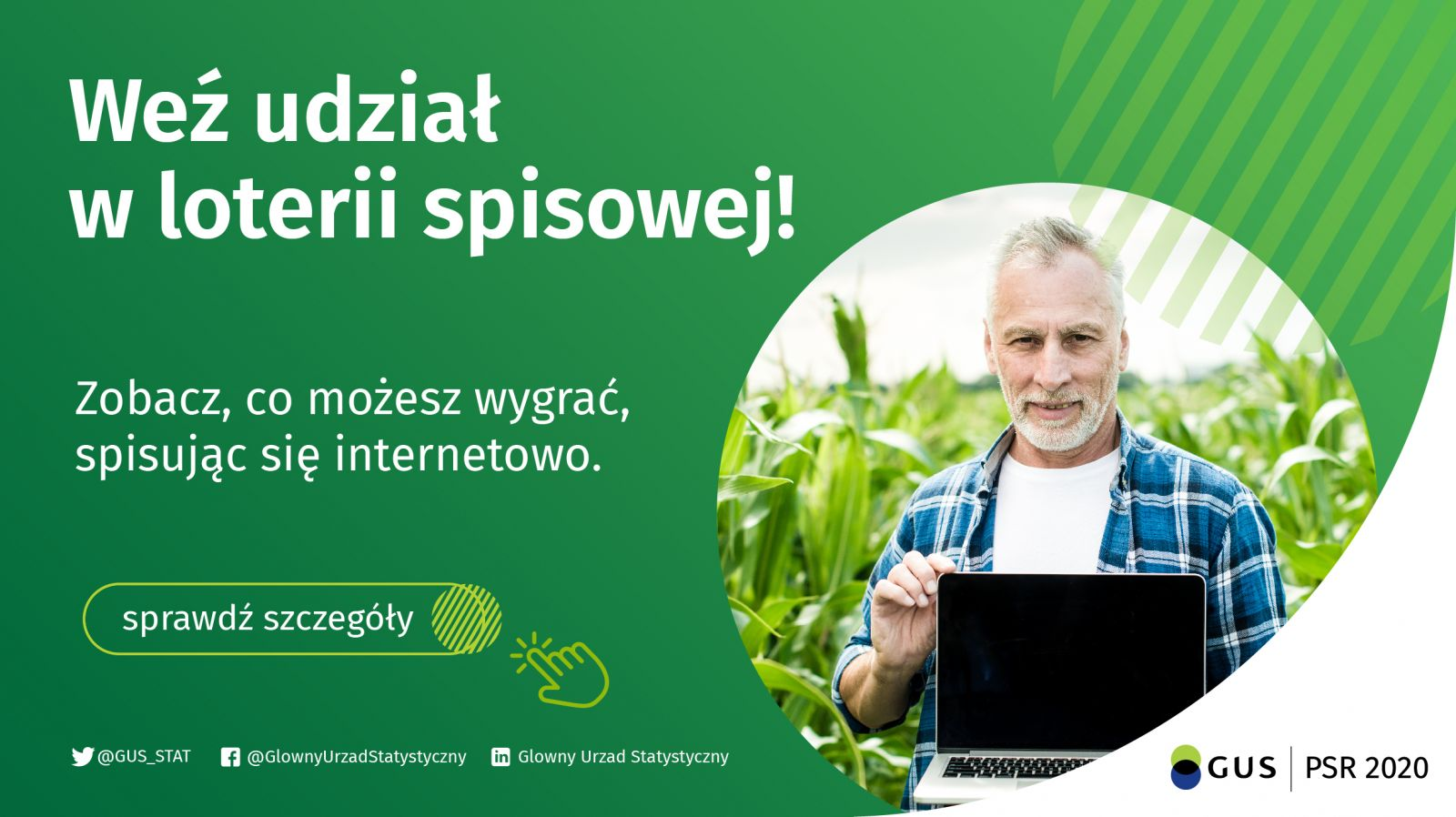 Plakat weź udział w loterii spisowej! Zobacz, co możesz wygrać spisując się internetowo